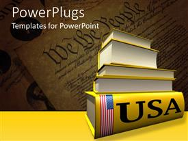 PowerPoint template displaying pile of large yellow colored books laying on United States constitution