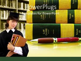 PowerPoint template displaying pile of law books with pen and lady in law attire