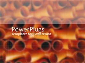 PowerPoint template displaying pile of red and orange pipes