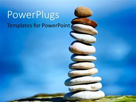 PowerPlugs: PowerPoint template with pile of white stones with two pebbles on top over blue background