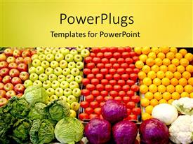PowerPlugs: PowerPoint template with piles of fruits and vegetables, yellow and red apples, green apples, tomatoes, lemons, cabbages, red cabbage and cauliflowers with yellow band background