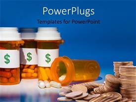 PowerPoint template displaying pill bottles labeled with dollar sign filled with medications beside coin stack