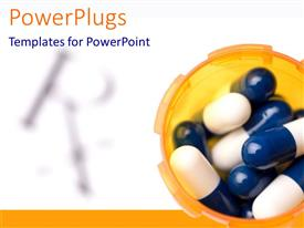 PowerPlugs: PowerPoint template with pill capsules in orange bottle, prescription symbol, pharmacy, pharmaceuticals, medicine