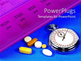 PowerPoint template displaying pill dispenser with tablets and stopwatch, medicine, pharmaceuticals, time