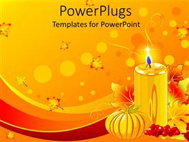 PowerPlugs: PowerPoint template with pillar candle, small pumpkin, autumn leaves all in gold and red