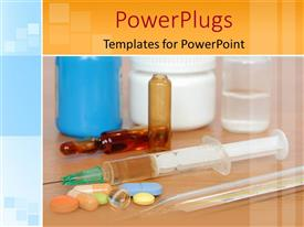 PowerPoint template displaying some pills with two syringes, two vials and a thermometer