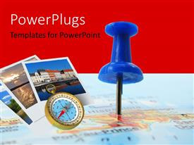 PowerPlugs: PowerPoint template with a pin and a number of photographs with reddish background