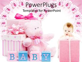 PowerPlugs: PowerPoint template with pink baby shower gifts for girl, blocks, teddy bear, roses