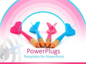 PowerPlugs: PowerPoint template with pink and blue toy darts with bulls eye target, competition