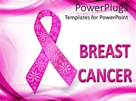 PowerPlugs: PowerPoint template with pink breast cancer awareness ribbon with glitter flowers, white and pink wave background