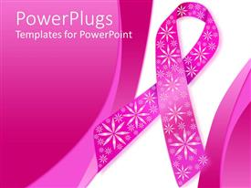 PowerPlugs: PowerPoint template with pink breast cancer ribbon with sparkly flowers on a pink and white background