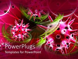 PowerPlugs: PowerPoint template with pink color shaped viruses with tint of green