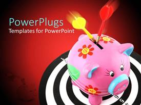 PowerPoint template displaying a pink colored piggy bank with two red and yellow darts in it