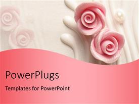 PowerPlugs: PowerPoint template with pink colored wedding cake with roses shapes