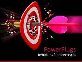 PowerPlugs: PowerPoint template with pink dart piercing though the center of a red dart board