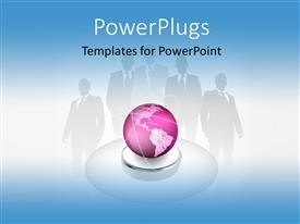 PowerPoint template displaying a pink globe with the shadow of professionals in the background