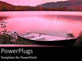 PowerPlugs: PowerPoint template with pink infused backdrop of lake with canoe at shore