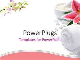 PowerPlugs: PowerPoint template with pink lily with towel, tea light candle, and dish of bath salt on white background