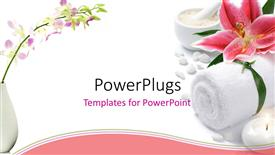 PowerPoint template displaying pink lily with towel, tea light candle, and dish of bath salt on white background