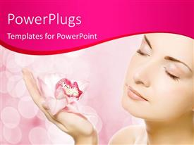 PowerPlugs: PowerPoint template with pink orchid in palm of beautiful young lady over abstract background