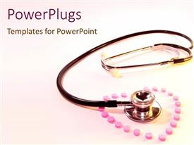 PowerPlugs: PowerPoint template with pink pills forming shape of heart surrounding a stethoscope of bright pink background