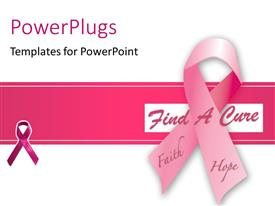 PowerPlugs: PowerPoint template with pink ribbon made in health symbol on red and white background