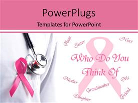 PowerPlugs: PowerPoint template with pink ribbon and stethoscope remember breast cancer with a question