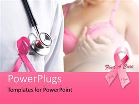 PowerPlugs: PowerPoint template with pink ribbons depiction breast cancer awareness with a stethoscope