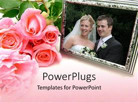 PowerPlugs: PowerPoint template with pink rose bouquet next to wedding photo in silver frame