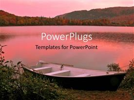 PowerPlugs: PowerPoint template with pink view of a boat by the river side