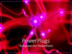 PowerPoint template displaying pink and white colored shinning active neurone cells on a blurry background