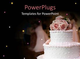PowerPoint template displaying pink and white wedding cake with roses decoration on top of cake