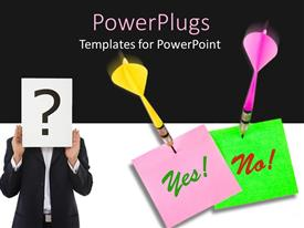 PowerPlugs: PowerPoint template with pink and yellow dart hitting a Yes or No sign with a question mark
