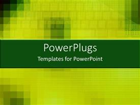 PowerPoint template displaying a pixilated plain green and yellow colored blurry background