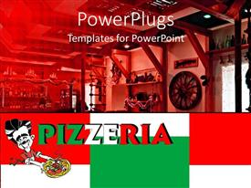 PowerPlugs: PowerPoint template with pizzeria word written in Italy's colors on geometric shapes with red, white and green and depiction of italian restaurant and pizzeria interior