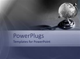 PowerPlugs: PowerPoint template with plain ash colored background with an earth globe on a stand