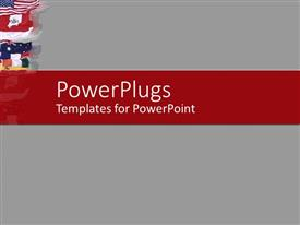 PowerPoint template displaying a plain ash colored background with a red strip