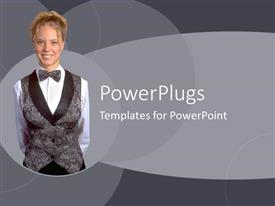 PowerPlugs: PowerPoint template with a plain ash colored tile with a smiling lady