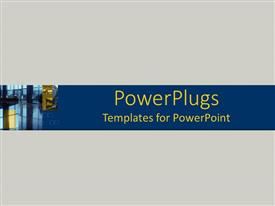 PowerPlugs: PowerPoint template with a plain ask colored background with a blue strip