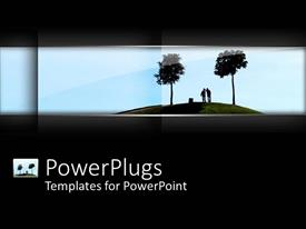 PowerPoint template displaying plain black background tile with two humans and trees