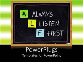 PowerPlugs: PowerPoint template with a plain black board showing some texts and some colorful letters