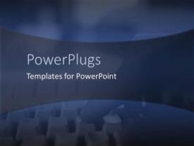 PowerPlugs: PowerPoint template with a plain blue background with a blurry view of a keyboard