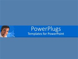 PowerPlugs: PowerPoint template with a plain blue background surface tile with a smiling man