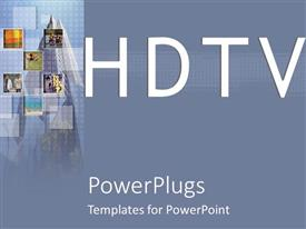 PowerPlugs: PowerPoint template with plain blue background with text that spell out the words 'HDTV'