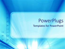 PowerPoint template displaying a plain blue background with a text that spell out the words
