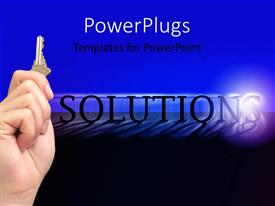 PowerPlugs: PowerPoint template with a plain blue and black background with a text which spells out the word 'solutions'