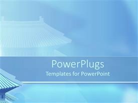 PowerPlugs: PowerPoint template with plain blue colored background with an abstract house drawing