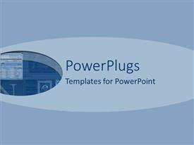 PowerPoint template displaying a plain blue colored background with some shapes on it