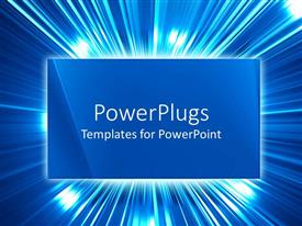 PowerPoint template displaying a plain blue colored triangular tile with shinning lights behind it