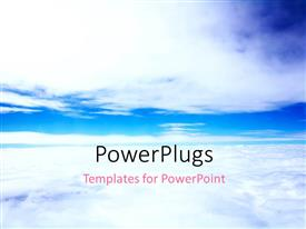 PowerPoint template displaying plain blue sky with white clouds